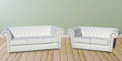Chesterfield 3+2 White Leather Sofa Offer Brass Studs