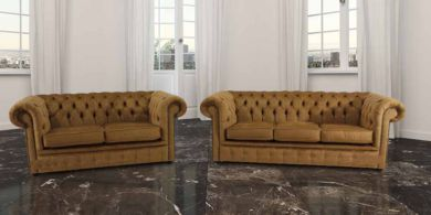 Chesterfield 3 Seater + 2 Seater Settee Perla Bronze Velvet Sofa Suite Offer