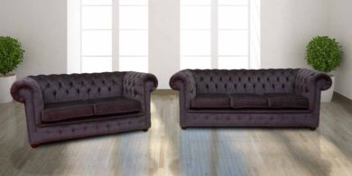 Chesterfield 3 Seater + 2 Seater Settee Perla Dusk Charcoal Grey Velvet Sofa Suite Offer