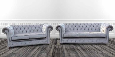 Chesterfield 3 Seater + 2 Seater Settee Perla Illusions Grey Velvet Sofa Suite Offer