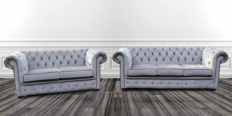 Chesterfield 3 Seater + 2 Seater Settee Perla Illusions Velvet Sofa Suite Offer