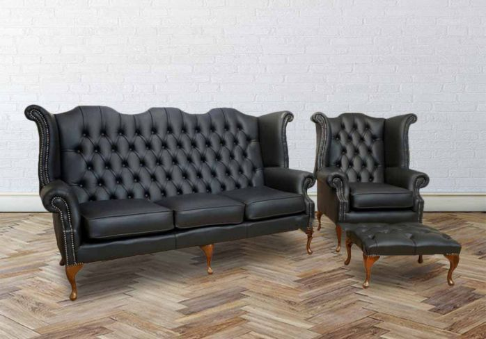 Chesterfield 3 Seater + Queen Anne High Back Wing Chair UK Manufactured Black
