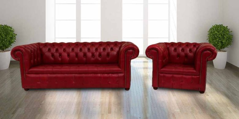 Buy red leather Chesterfields|UK Manufacturer|DesignerSofas4U