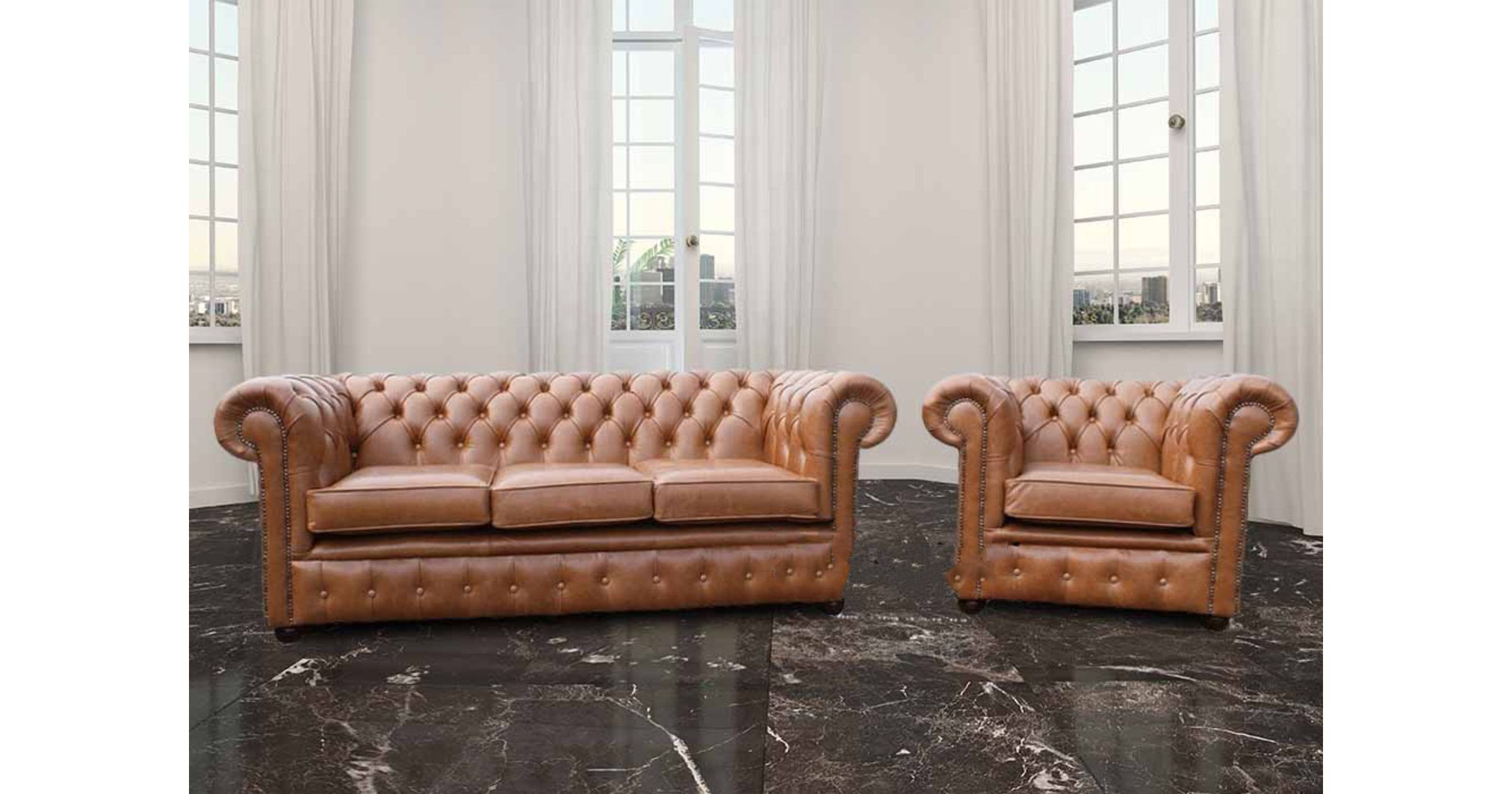 Picture of: Buy Chesterfield 3 1 Seat Set Made In Uk Designersofas4u