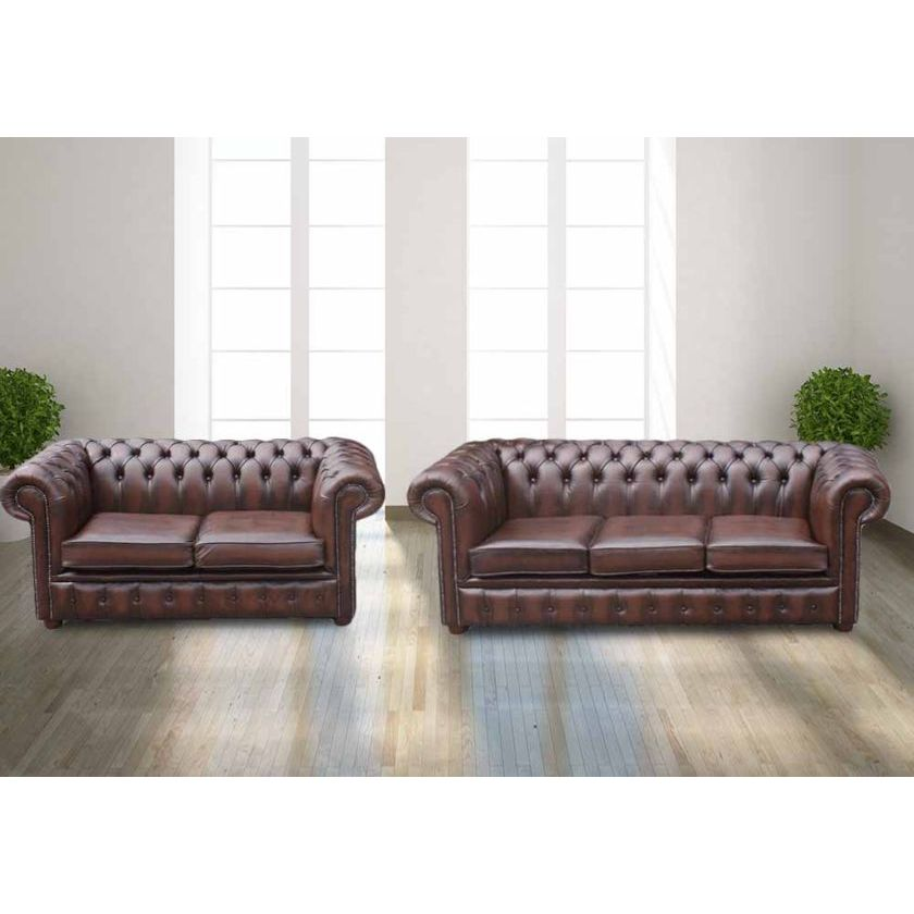 Chesterfield 3+2 Brown Leather Sofa Offer