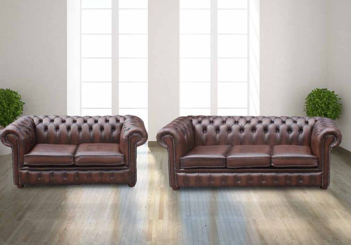 Buy 1930s leather Chesterfield sofa | DesignerSofas4U