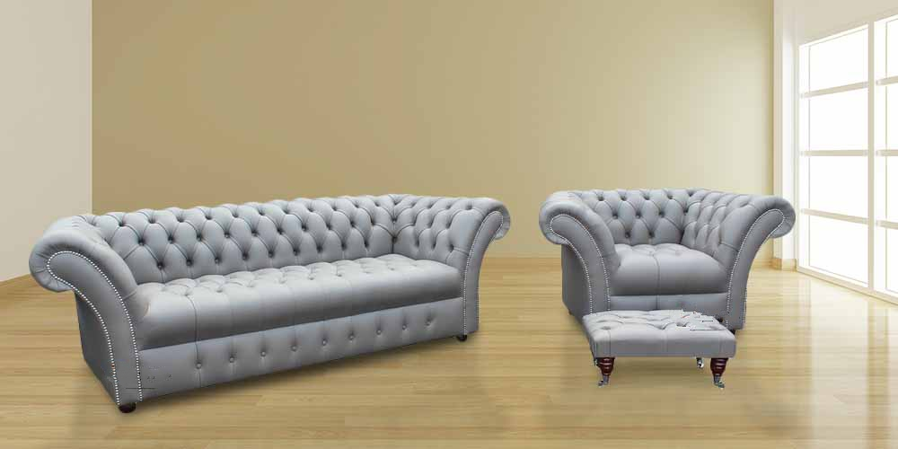 Buy leather Chesterfield suite Made in UK DesignerSofas4U