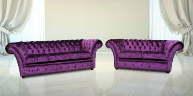 Chesterfield Balmoral Purple 3+2 Seater Sofa Settee Suite Modena Aubergine Crush Velvet