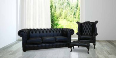 Chesterfield Black Leather Sofa Offer 3+1+ Footstool
