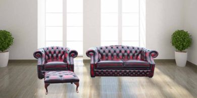 Chesterfield Buckingham 2 Seater + Club Chair + Footstool Oxblood Leather Sofa Suite Offer