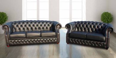 Chesterfield Buckingham 3 Seater + 2 Seater Black Leather Sofa Suite Offer
