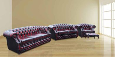 Chesterfield Buckingham 3 Seater + 2 Seater + Club Chair + Footstool Oxblood Leather Sofa Suite Offer