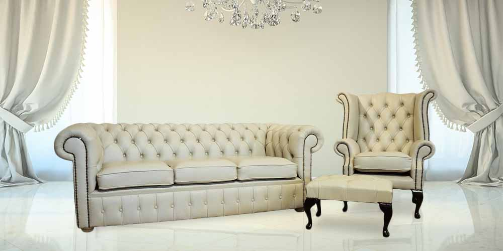 Buy Now Pay Later Chesterfield Sofa Cream