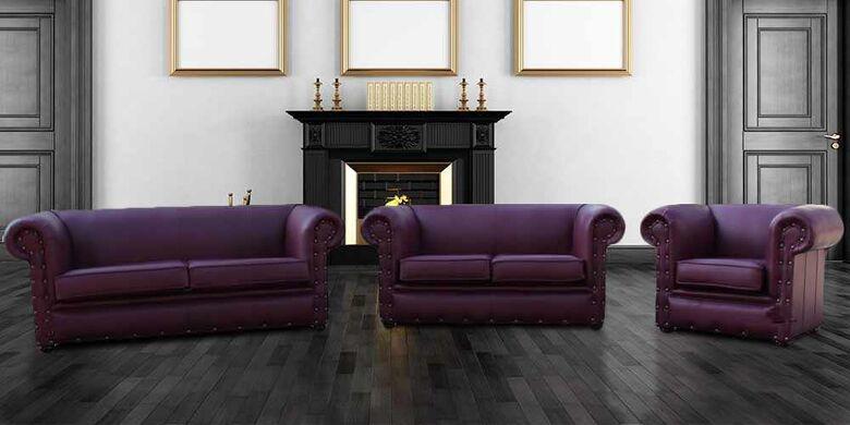 Buy Aubergine Sofa | Leather Chesterfield Sofa|Made In UK|DesignerSofas4U