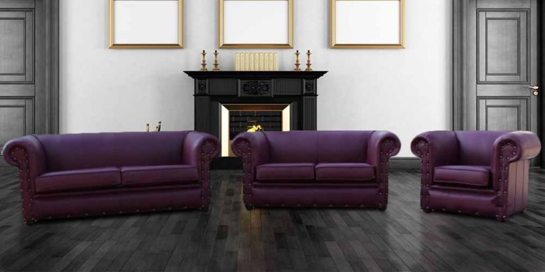Buy Aubergine Sofa | Leather Chesterfield Sofa|Made in UK|DesignerSofas4U