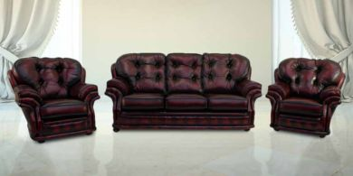 Chesterfield Knightsbridge 3+1+1 Seater Settee Traditional Sofa Suite Antique Oxblood leather