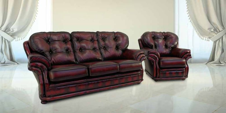 Chesterfield Knightsbridge 3+1 Seater Settee Traditional Sofa Suite Antique Oxblood leather