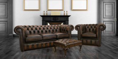 Chesterfield Leather Sofa 3 seater+Club chair+Footstool antique Brown