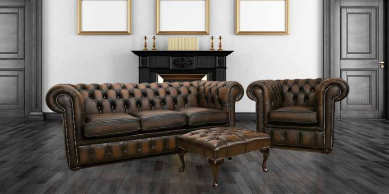 British Chesterfield Brown Leather Sofa Offer|Interest Free Finance Leather suite|DesignerSofas4U