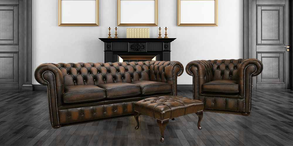 British Chesterfield Brown Leather Sofa Offer