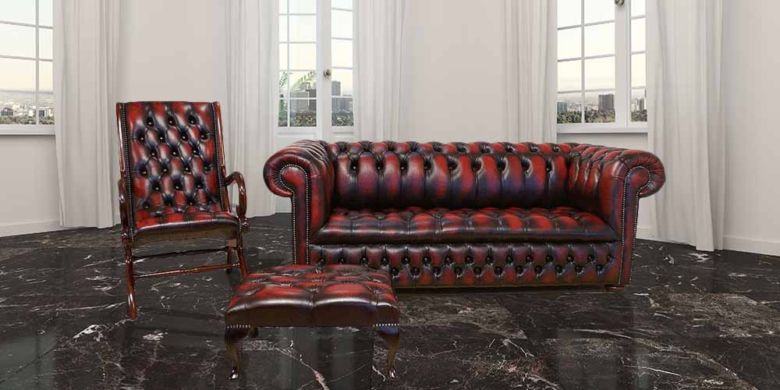 Buy leather Chesterfield suite for living room|Made in UK|DesignerSofas4U