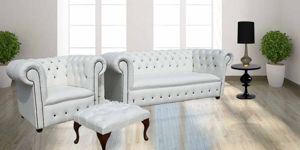 Admirable Chesterfield Leather Sofa Buttoned 3 Club Chair Footstool Suite White Leather Designer Sofas 4U Ibusinesslaw Wood Chair Design Ideas Ibusinesslaworg