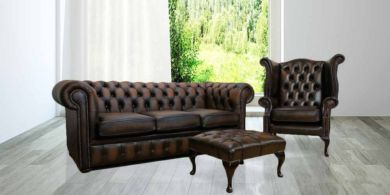 Chesterfield Leather Sofa Suite 3 + 1 + Footstool Antique Brown