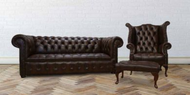 Chesterfield Leather Sofa Suite Buttoned Seat 3+1+Footstool Antique Brown