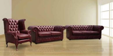 Chesterfield Leather Suite 3 Seater Settee 2 Seater Sofa Matching Fireside Wing Armchair Offer
