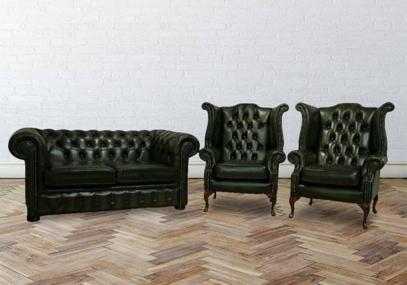 Chesterfield 2+1+1 Leather Suite Offer Antique Green Leather