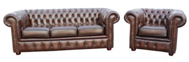 Chesterfield London 3+1 Leather Sofa Suite Offer Antique Brown