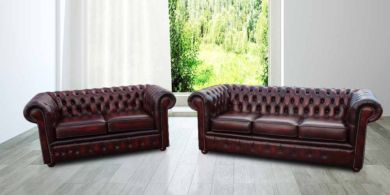 Chesterfield London 3+2 Leather Sofa Suite Offer Antique Oxblood