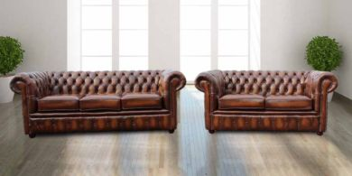 Chesterfield London 3+2 Leather Sofa Suite Offer Antique Tan