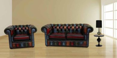 Chesterfield Patchwork Antique 2 Seater Settee + Armchair Leather Sofa Offer
