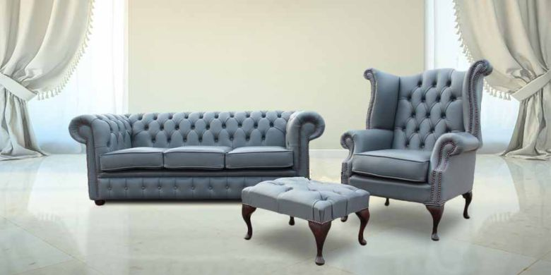 Chesterfield Soft Vele Iron Grey Leather Sofa Offer 3+1+ Footstool