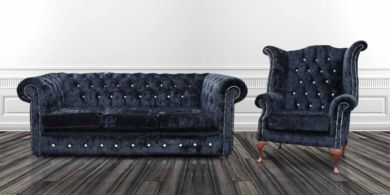 Chesterfield Crystal  Diamond 3 Seater+Wing Chair Velvet Sofa Offer