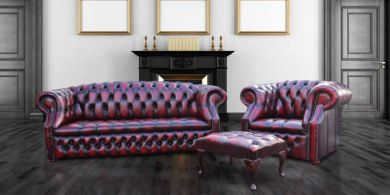 Chesterfield Windsor 3 Seater + Club Chair + Footstool Oxblood Leather Sofa Suite Offer
