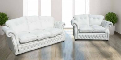 Era 3+2 Crystal Seater Sofa Settee Traditional Chesterfield White Leather