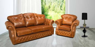 Era Leather Suite Seater Settee Traditional Chesterfield Sofa