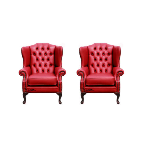 Chesterfield 2 x Mallory Wing Chairs Old English Gamay Red Leather Sofa Offer