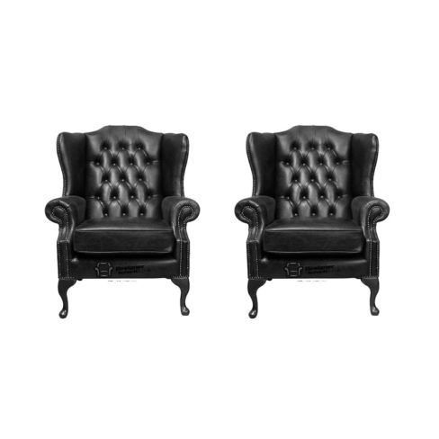 Chesterfield 2 x Mallory Wing Chairs Old English Black Leather Sofa Offer