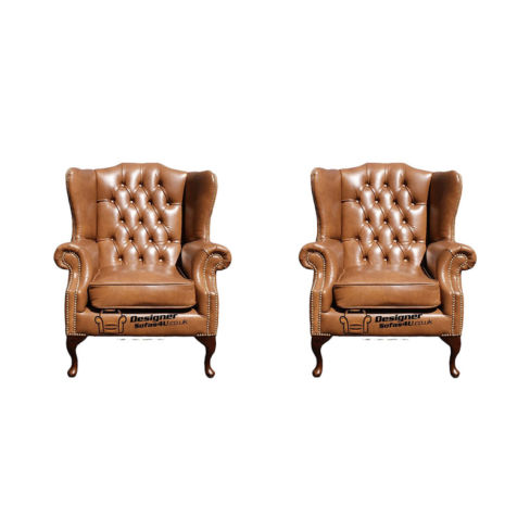 Chesterfield 2 x Mallory Wing Chairs Old English Tan Leather Sofa Offer