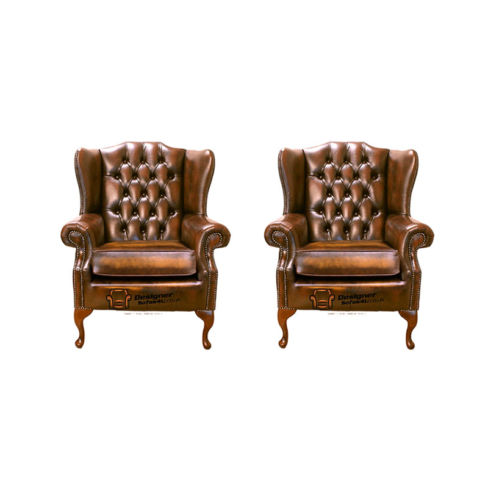 Chesterfield 2 x Mallory Wing Chair Leather Sofa Suite Offer Antique Gold