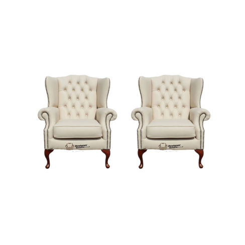 Chesterfield 2 x Mallory Wing Chair Leather Sofa Suite Offer Ivory