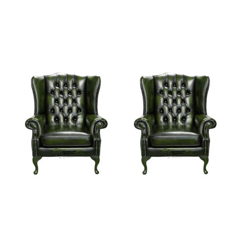 Chesterfield 2 x Mallory Wing Chair Leather Sofa Suite Offer Antique Green