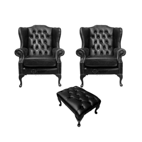 Chesterfield 2 x Mallory Wing Chairs + Footstool Old English Black Leather Sofa Offer