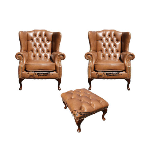 Chesterfield 2 x Mallory Wing Chairs + Footstool Old English Tan Leather Sofa Offer