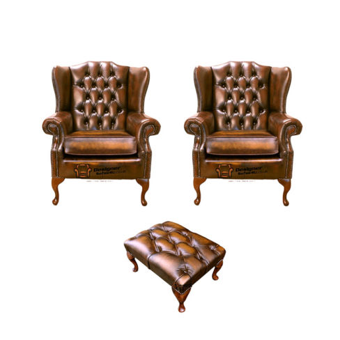 Chesterfield 2 x Mallory Wing Chair + Footstool Leather Sofa Suite Offer Antique Gold