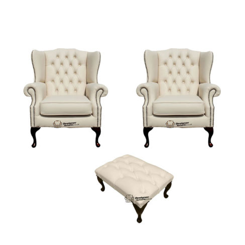Chesterfield 2 x Mallory Wing Chair + Footstool Leather Sofa Suite Offer Cottonseed Cream