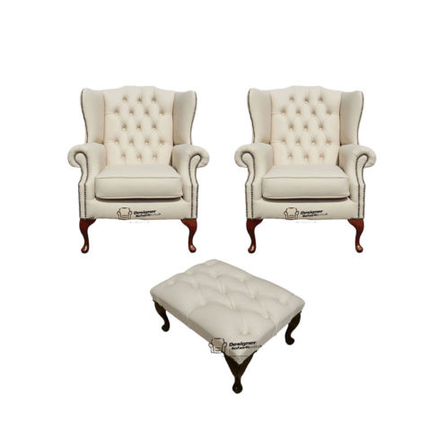 Chesterfield 2 x Mallory Wing Chair + Footstool Leather Sofa Suite Offer Ivory